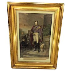 Antique Henry Sadd Engraving of His Royal Highness Prince Albert of England Great Old Gold Gilt Wood Frame & Old Glass After Painting by John Lucas