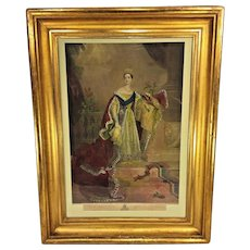 Antique Henry Sadd Engraving of Queen Victoria of England Great Old Gold Gilt Frame & Old Glass After Painting by A E Chalon