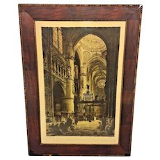 Antique Reproof Axel Haig Colored Lithograph of Burgos Cathedral in Spain  Pencil Signed by Haig & Jacobi