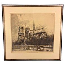 Antique Framed Etching of Notre Dame Cathedral Eau Forte Originale Par Louis Orr Most Likely Issued by the Louvre Museum Absied De Notre Dame de Paris