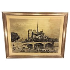 Antique Axel H Haig Pencil Signed Engraving of Notre Dame Cathedral 1900 Framed & Matted Printed by Robert Dunthorne London