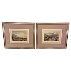 Antique Pair of Color Engravings of Nautical Scenes Matted and Framed J C Armytage & J H Kernot Waiting for the Boats & Drawing the Net at Haweswater