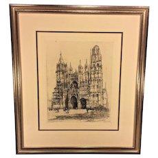Vintage Engraving of La Cathedral de Rouen w/ Blind Stamp from Louvre Museum Caroline Armington Chalcographie du Louvre