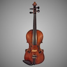 Antique Violin Inlaid Purfling w/ Case 1884 Repair Label from August Gemunder