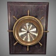 Vintage Seth Thomas Ships Bell Clock Helmsman Model Runs Mounted on Wood Plaque Running Slow