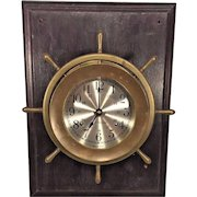 Vintage Seth Thomas Ships Bell Clock Helmsman Model Runs Mounted on Wood Plaque Running Slow