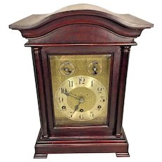 Antique CAC Bracket Clock Brass Movement Westminster Chimes Runs  Nice Mahogany Wood Case Germany Early 1900s