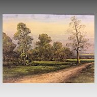 Antique Pastel Painting of Dirt Lane and Stream Pastural Landscape Attributed to the Walter Ashbaugh School