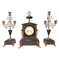 Antique Japy Freres Clock and Candle Garniture Set Bell Strike Not Running France