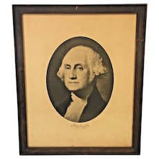 Antique Lithograph of George Washington  Wood Framed Under Glass