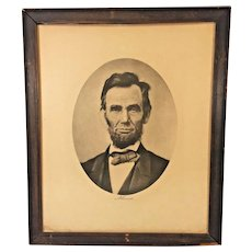 Antique Lithograph of Abraham Lincoln Wood Framed Under Glass