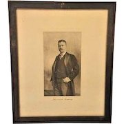 Antique Lithograph of Theodore Roosevelt Wood Framed Under Glass