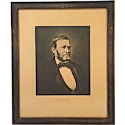 Antique Lithograph of Ulysses S Grant Wood Framed Under Glass