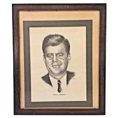 Vintage Print of John Fitzgerald Kennedy Wood Framed Under Glass