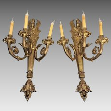 Vintage Pair of Cast Brass Empire Style Electric Sconces Swan Design Very Heavy!