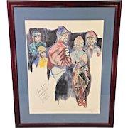 Autographed Limited Ed Jockeys Print by Raymond Framed & Matted   Arcaro Velasquez Shoemaker Cordero & Pincay   # 26/250