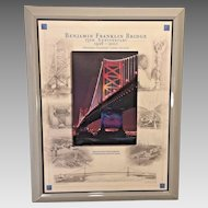 Benjamin Franklin Bridge Print 75th Anniversary in 2001 Nicely Framed & Matted  Delaware River Port Authority