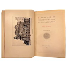 Chronicle of the Union League of Philadelphia 1862 to 1902 1902 Front Cover Separated Still w/ Book  1st Edition Book
