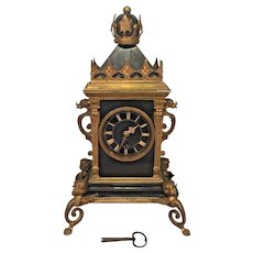 Antique French Time Only Clock Runs Open Escapement  Enameled Body Brass Cupid Legs Slate Face