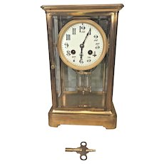 Antique French Crystal Regulator Clock Porcelain Face Gong Strike Not Running Bronze Case