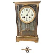 Antique French Crystal Regulator Clock Porcelain Face Gong Strike Not Running Bronze Case