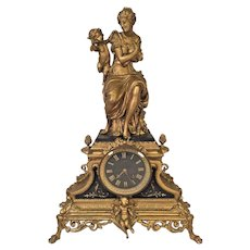 Antique Japy Freres (also LB w/ Lion)  Gold & Black French Clock Case Woman w/ Cupid Topper  Slate Incised Pieces and Face Not Running Loose Gong Board