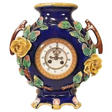 Vintage French Majolica Porcelain Case Clock Open Escapement No Pendulum Not Running  Maker V. R. Brevette Paris