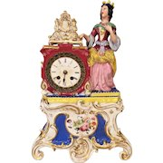 Porcelain Case Clock with Queen Figurine French Movement No Pendulum Not Running  J. P on Porcelain Case