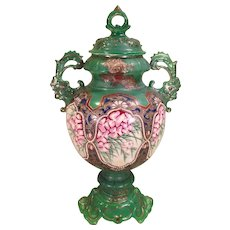 Vintage Painted Vase with Lid  Green with Flower Design Gold Paint Highlights