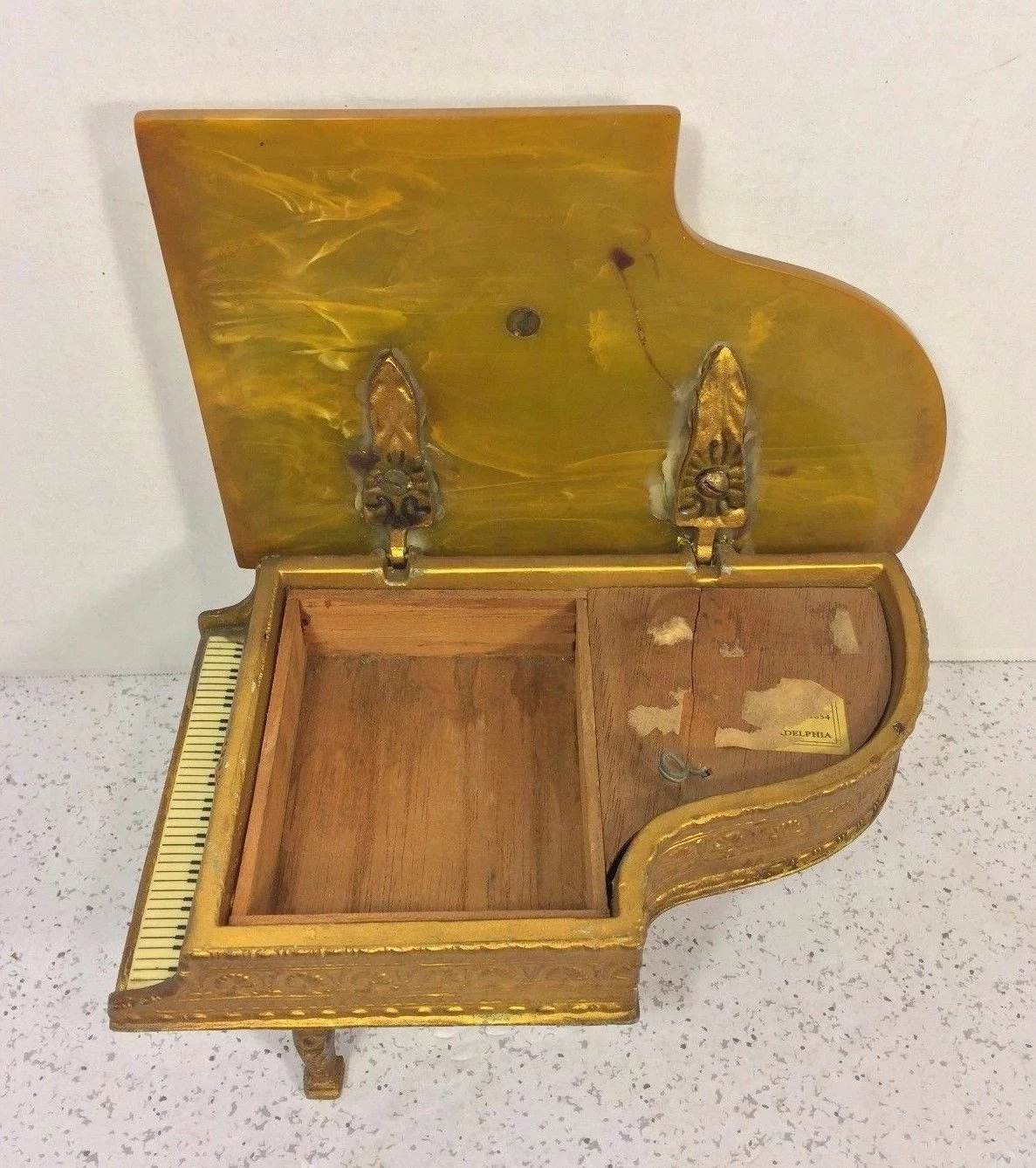 Vintage Grand Piano Music Box Thorens Swiss Gold Gilt