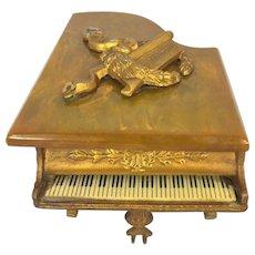 Vintage Grand Piano Music Box Thorens Swiss Gold Gilt Piano w/ Keyboard Bakelite Top Runs