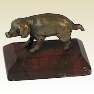 Miniature Bronze Pig on Marble Plinth. Ideal for Dolls House. C.1930
