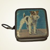 Circa 1930. German Sewing Tape Measure With Adorable Terrier Dog Decoration.