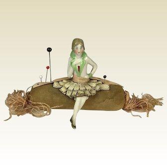 Circa 1920. German Half Body Flapper Girl Pincushion Doll. Seated on Bolster Cushion. Rare.