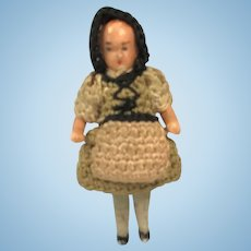 """Tiny Carl Horn German Bisque Jointed Doll. 1 5/8"""""""