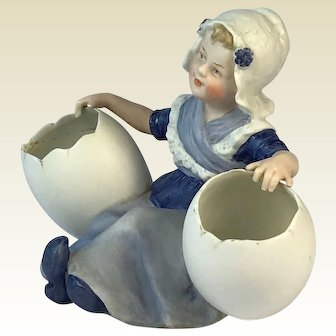 Gerbruder Heubach Bisque Figurine. Girl with Eggs. Circa 1900. Marked.