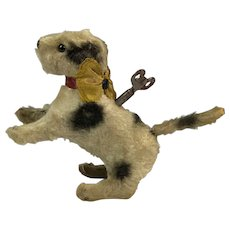 Cute 1930's Clockwork Windup Plush Toy Dog. With Key.