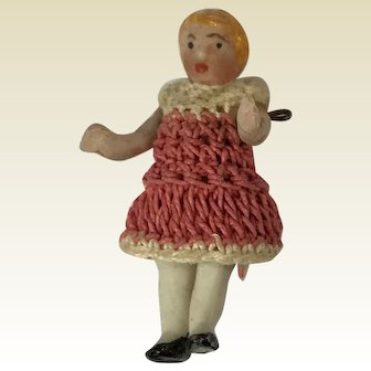 """Tiny Carl Horn Doll. Bisque Jointed Dollhouse Doll. 1 1/4"""""""