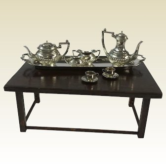 Sterling Silver Miniature Tea Set for Doll House. Hallmarked