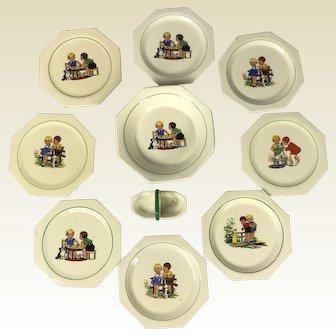 Child's Vintage Toy Porcelain Part Dinner Service. Gien France