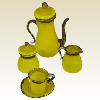 Miniature Antique Coffee For One Set For Doll House