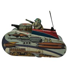 1952 Rex Mars Planet Patrol X-1 Space Tank Tin Wind-Up By Mar. U.S.A.