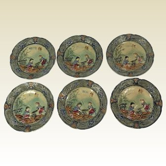 Set Of Six 19th Century French Majolica / Barbotine Childrens See Saw Plates