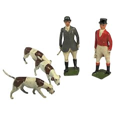 Britain's Cold Painted Lead Huntsmen and Hounds Toy Figures.