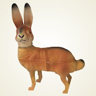 Vintage German Paper Mache Candy Container Rabbit. Hare. Easter Gift. 1930s/40's. Glass Eyes.