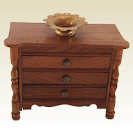 19th Century, English, Solid Wood, Chest of Drawers for Doll House.