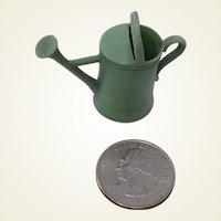 So Cute! Vintage Miniature Green Bisque Watering Can for Doll House.