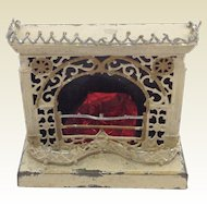 Rare Antique German Dollhouse Tinplate Fretwork Fireplace C.1900.