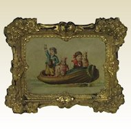Superb Antique picture for Dolls House. Decorative Repoussé Frame 19th Century.