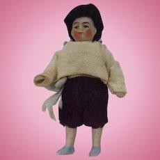 Antique German Bisque Boy Doll. Doll House Size